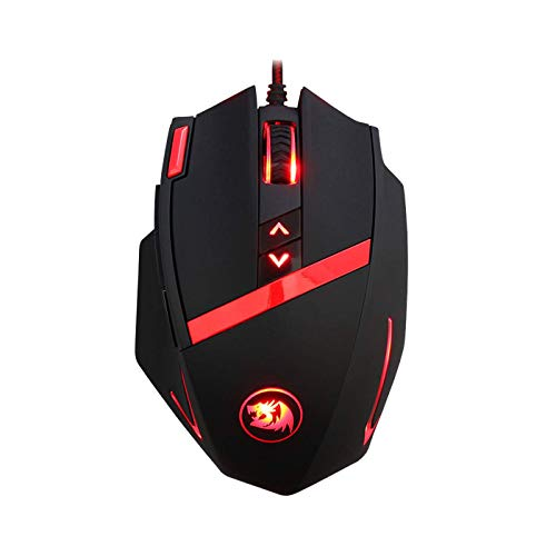Redragon M801 Gaming Mouse Wired, Programmable 9 buttons, MMO RGB LED Mice, 16400 DPI, Laser Sensor, Omron Switches, Weight Tuning Set, 5 User Profiles for Windows PC Games - Black