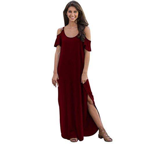 Women's Dresses Dtore,CMrtewWomens Summer Fashion Short Sleeve Solid Sling Cold Shoulder Beach Split Long Sexy Dress (Wine, L) -