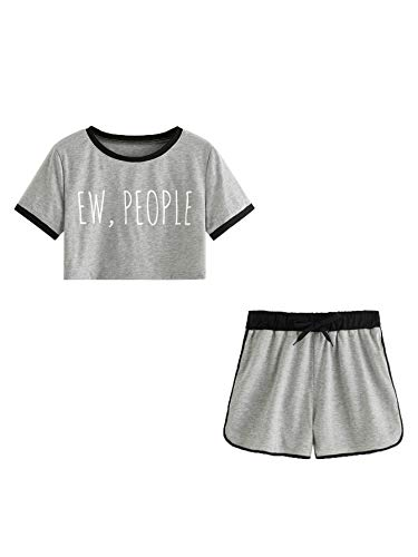 DIDK Women's Letter Print Ringer Tee and Shorts Grey XL
