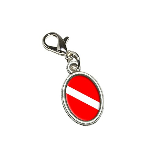 Graphics and More Diving Flag - Scuba Diver Dive Antiqued Bracelet Pendant Zipper Pull Oval Charm with Lobster Clasp