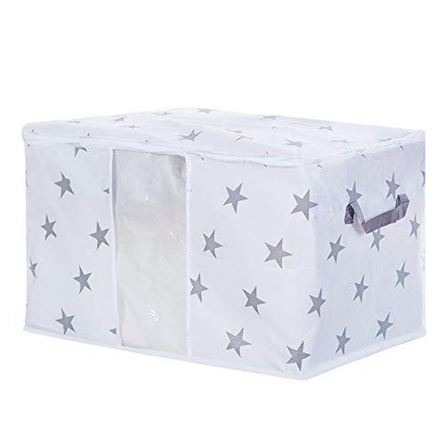 Konxxtt Zipper Clear View Foldable Storage Bag Clothes Blanket Quilt Closet Sweater Organizer Box Pouches(Stars,M: 23.6x17x14.1)