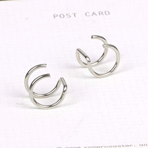 SimpleLif U-Shaped Double Ring Earrings,Titanium Ear Cuff Nose Lip Clips On Helix Cartilage Ring No Piercing Body Jewelry by SimpleLif (Image #2)