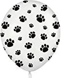 12 White Balloons with Black Paw Prints – Woof!, Health Care Stuffs