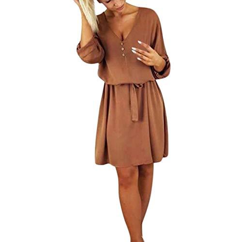 Clearance!Women Casual V Neck Sundress, Lkoezi Lady Waisted Solid Knee Skirt Design Buttons Half Sleeve Dress Holiday Dress (M, Brown)
