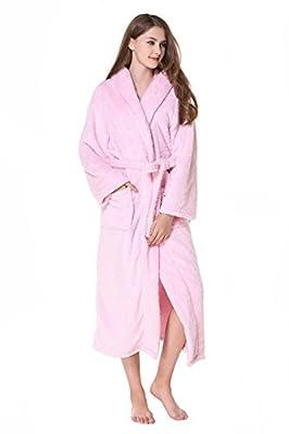 Cahayi Women Bathrobe Plus Size Plush Coral Fleece Warm Spa Robe with Hood S-XXL