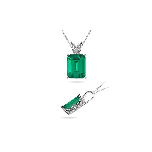 - 1.49 Cts of 8x6 mm AAA Emerald Cut Lab Created Emerald Scroll Solitaire Pendant in 14K White Gold