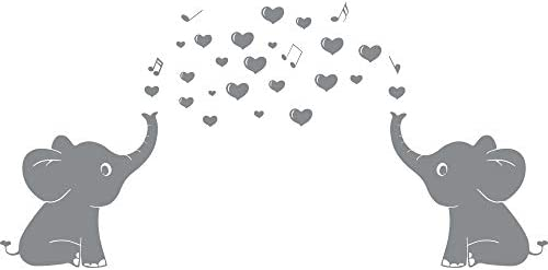 "Elephant Family Wall Decal With Hearts Music Quote Art Baby Nursery Wall Decor (Grey) - 24"" X 51"""