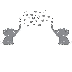 Elephant Family Wall Decal With Hearts Music Quote Art Baby Nursery Wall Decor (Grey) – 24″ X 51″