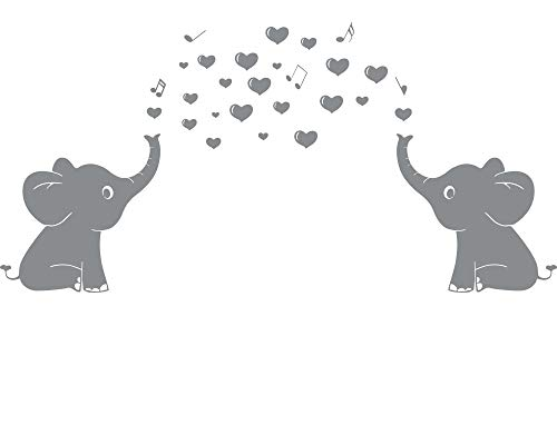 """Elephant Family Wall Decal With Hearts Music Quote Art Baby Nursery Wall Decor (Grey) - 24"""" X 51"""""""