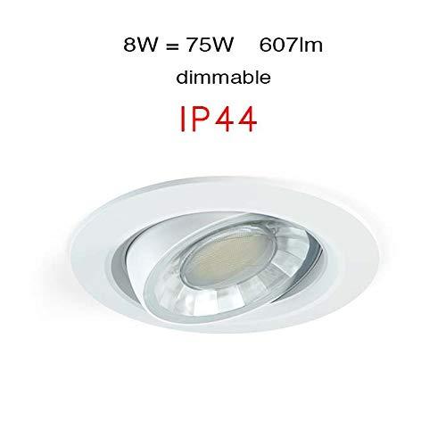 Beneito Faure Compac R 8 W LED empotrable stahler 360 ° IP44 regulable, blanco cálido, redondo LED Downlight Orientable Spot Adjust 8 W 3000 K blanco ...