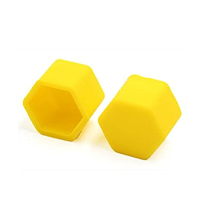 uxcell 20pcs 19mm Yellow Silicone Automobile Car Wheel Lug Nut Bolt Hub Cover Cap: Automotive