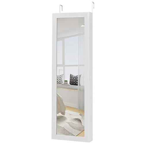 COSTWAY Armario para Joyas Espejo Joyero Espejo de Joyeria de Puerta y Pared Gabinete de Joyeria Organizador para Anillos Cadena y Pendientes (Blanco)