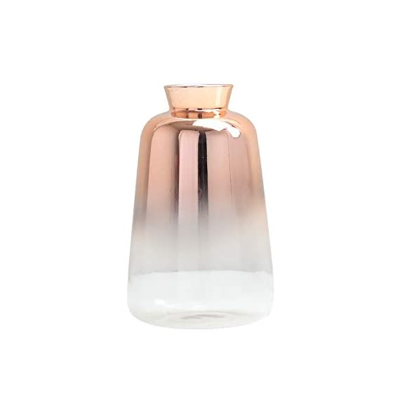 """SVY Flower Bud Ombre Vase, Desk Floral Glass Vase, Champagne Gold Color Stylish Decorative Scent Bottle Shape Flower Glass Vase (2.56"""" W 4.33"""" H) - High Qualiy with 14 Days Warranty -- 100% Satisfaction Guarantee. The flower bud vase is made of classic glass. Each vase features thick glass walls and weighted base to ensure durability. This vase is made using only high quality material. Stylish Design -- champange gold color stylishly display your favorite blooms in this bud vase, it's tube form and subtle lines create a warm and contemporary look and is perfect for any room in the home. Perfect For Plants -- The flower bud vase fits perfectly with floral stems or your favorite fresh flower (not included). - vases, kitchen-dining-room-decor, kitchen-dining-room - 31kbbKfpU9L. SS570  -"""