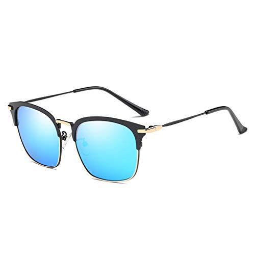 Blue Marco Retro Black de Lens Black de Mujer con de UV Frame Gafas Sakuldes Blue Frame Gafas y con Medio Hombre protección Lens Sol para Color Estilo Sol Metal Retro q0fnwaB