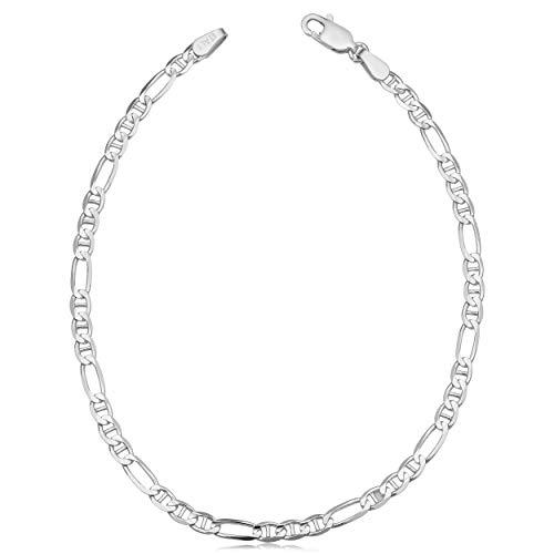 Kooljewelry Sterling Silver Figaro Mariner Link Bracelet (3.7 mm, 8.5 inch)