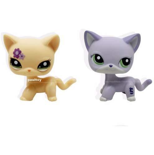 Pet Shops 2pcs Littlest Purple & Yellow Cat Kitty LPS #2094 #1962 ()