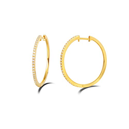 (Carleen 14K Yellow Gold Plated Sterling Silver CZ Cubic Zirconia Dainty Huggie Hoop Earrings for Women Girls (Size 1.2 Inch))