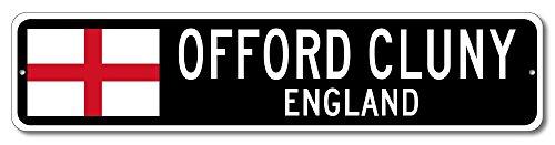 Cluny Accent (England Flag Sign - OFFORD CLUNY, ENGLAND - Custom City Flag Sign - 9