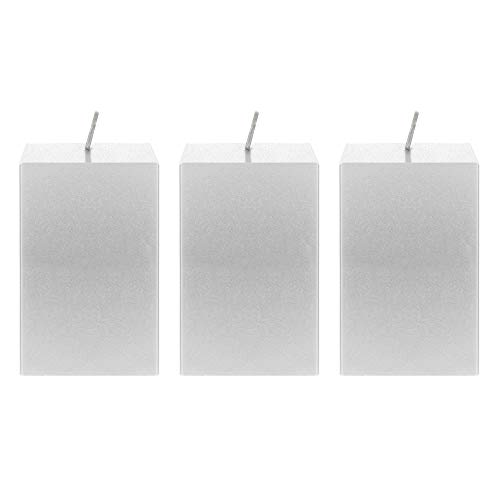 Mega Candles 3 pcs Unscented Silver Square Pillar Candle | Hand Poured Premium Wax Candles 2
