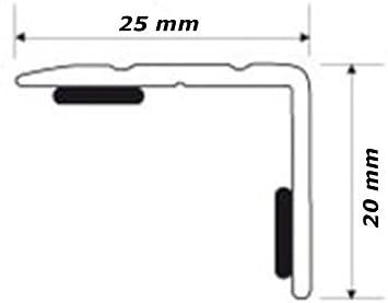 Perfil de cantos de escaleras para escalones de ángulo de escaleras – Autoadhesivo – Aluminio Anodizado: Champagne, 25 mm x 20 mm (C de 03): Amazon.es: Bricolaje y herramientas
