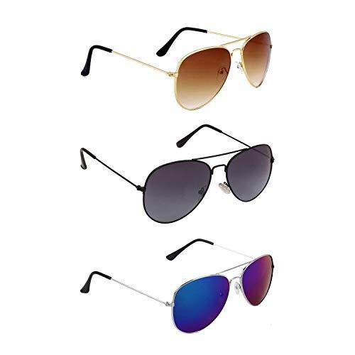 Dervin UV Protection Aviator Unisex Sunglasses (Brown, Black, Blue) – Combo of 3
