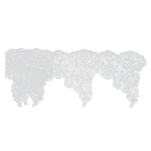 1yd eDealMax polister del Velo del Vestido de lentejuelas ropa bordes de Encaje Floral apliques