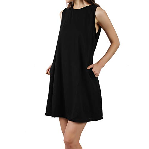 Somewell Women's Maternity Dresses, Women's Sleeveless Pockets Summer Casual T Shirt Beach Sundresses in Plus Size XXL