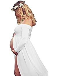 b92c11a766101 Women's Off Shoulder Long Sleeve Maternity Dress for Photography Chiffon Maternity  Gown for Photoshoot