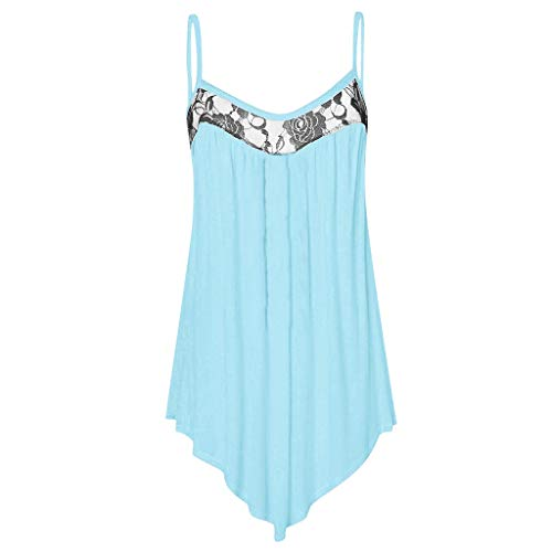 Fshinging Lace Tank Tops, Women's Plus Size Sling Tops Sleeveless Blouse Round Neck Irregular Top Shirt Blue ()