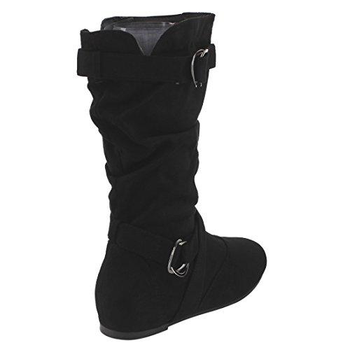 ff7564cddc4021 Forever Kayden-84 Women s Cut Out Side Zipper Strap Buckle Flat Heel  Slouchy Boots
