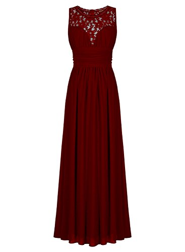 ThaliaDress Women Sheer Neck Sleeveless Vintage Formal Evening Dress T285LF Burgundy US22W