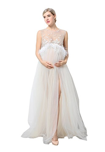 EPLAZA Maternity Maxi Lace Dress Set Sleeveless Split Photography Gown