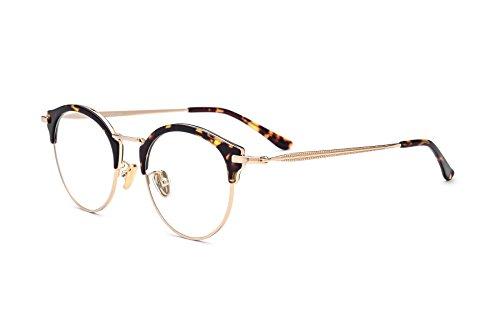 HEPIDEM 2017 New Prescription Acetate Glasses Frames Women Brand Designer Female Round Eyeglasses Optical Frame Eyewear 8001 (Leopard Gold)