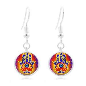 1set Hamsa Hand Photo Tibet Silver Dome Photo 16MM Glass Cabochon Long Earrings