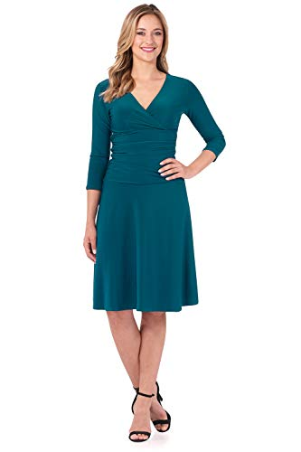 (Rekucci Women's Slimming 3/4 Sleeve Fit-and-Flare Crossover Tummy Control Dress (10,Teal))