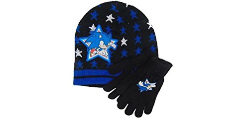 Sonic The Hedgehog Gloves (Sonic Boom Super Star Beanie knit Hat and Glove Set)