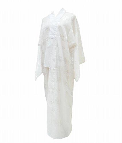 (着物ひととき) 長襦袢 中古 リサイクル 女性 化繊 洗える 白 花文様 裄63.5cm ながじゅばん 白系 裄Mサイズ ll1707b