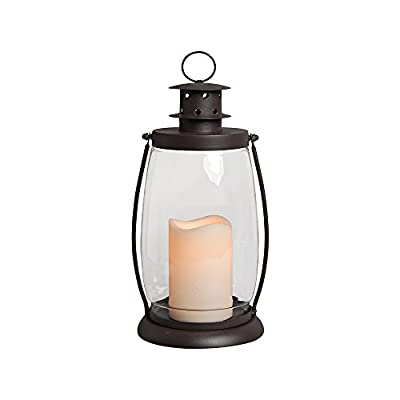 "Gerson Everlasting Glow 42466 Battery Operated Metal and Glass Lantern with 3 by 4.5"" Flameless LED Resin Candle, 6.3 by 12"" Rustic Brown"