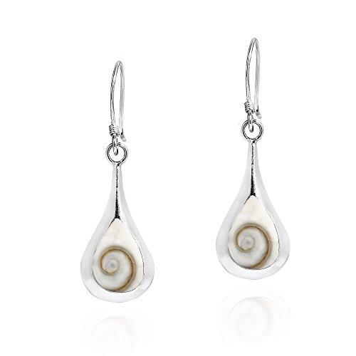 Enchanting Teardrop Swirl Shiva Shell .925 Sterling Silver Dangle Earrings