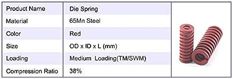 Taglia : 12x60mm 12x70 F-MINGNIAN-SPRING 2pcs Red Die Primavera 38/% di Compressione Rapporto di Compressione della Molla Die TM12x60 12x95 12x65 12x100mm Die Primavera Lungo