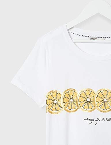 ONLY Onllima S/S Fruit Tee JRS T-Shirt damski (Onllima S/S Fruit Tee Jrs), kolor: biały , rozmiar: s: Odzież