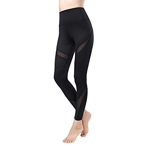 newlashua Womens High Waisted Leggings Workout Clothes Gym Sports Yoga Pants M 005 Black