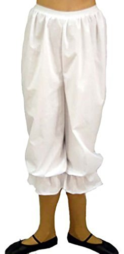 Victorian-Steampunk-Stage-Panto WHITE STRAIGHT LEG BLOOMERS / PANTALOONS with