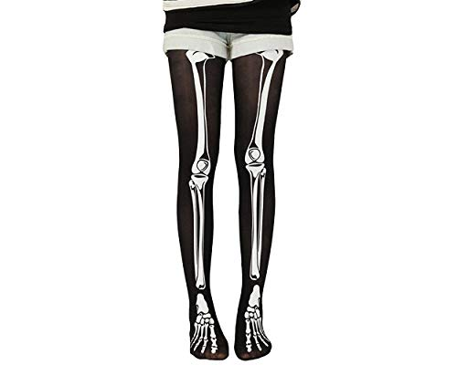 ACE SELECT Skeleton Pantyhose Elastic Skull Tights Knee High Stockings for Halloween Party Costume]()