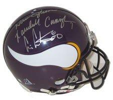 Vikings Multi Signed Pro Helmet - Cris Carter, Warren Moon & Randal ()