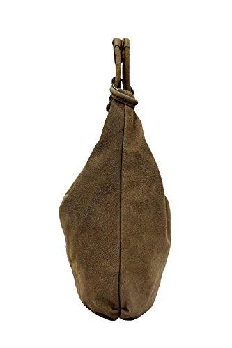 Bolso Bolso AMBRA cuero de asas Bolso Taupe Shopper Oscuro bolsa mujeres de de grande Moda de de gamuza de las WL822 hombro compartimiento ZrwZq7