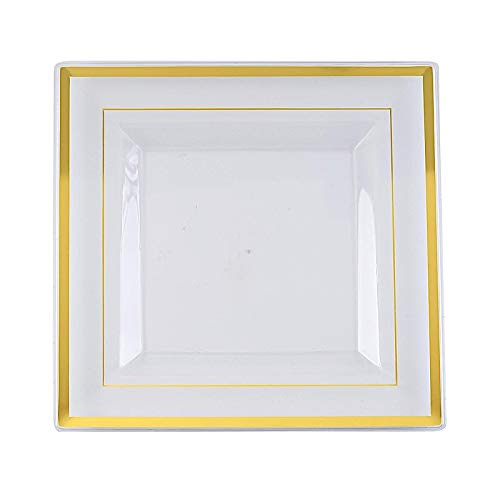 BalsaCircle 20 pcs 10-Inch Clear with Gold Trim Plastic Square Plates - Disposable Wedding Party Reception Event Catering Tableware (Sale Plates Square For)