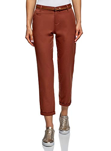 oodji Ultra Women's Belted Chino Pants, Red, 10 ()