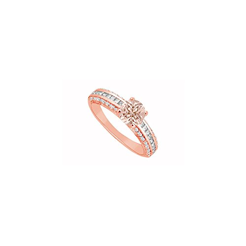 Three Czs Ring Pink - Morganite and Three Rows of CZs in Rose Gold Vermeil Engagement Ring Cool Design at Fab Price