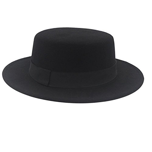 NE Norboe Women's Brim Fedora Wool Flat Top Hat Church Derby Bowknot Cap (Black) (Bowler Hat)